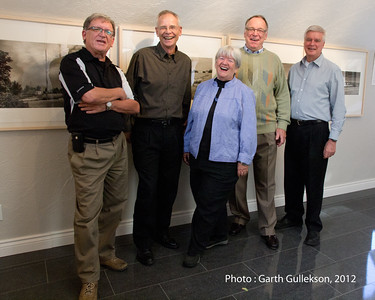 """OTTAWA, ONT.: SEPTEMBER 23, 2012 -- (L to R) Freeman Keats, Richard Perron, Maureen Murphy, Glenn Bloodworth, and William McCloskey at the Artist's talk at the photographic exhibition """"[dis]-appearance"""" at the Spiral Gallery (73 Aberdeen Street) in Ottawa, Ontario, September 23, 2012.  Photo by Garth Gullekson"""
