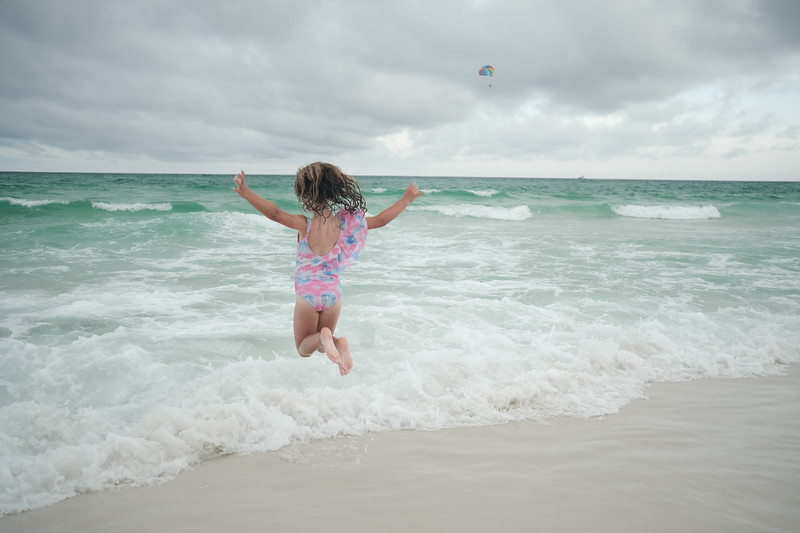willow jumps on the beach