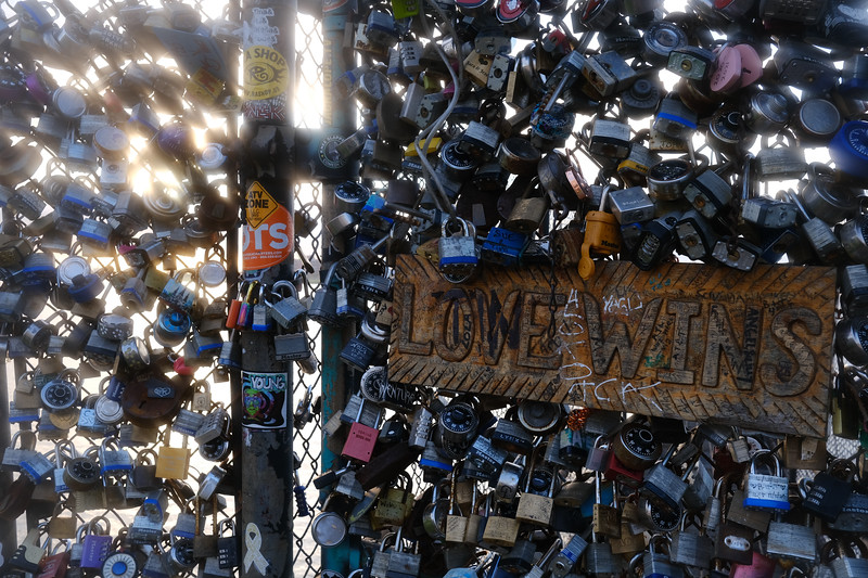 love wins - love locks gate along the mississippi river