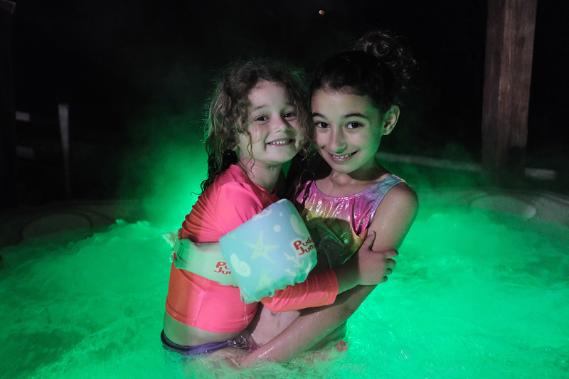 willow and lyla in the hot tub