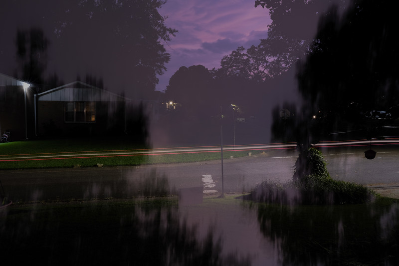 double exposure from our front porch of hillmoor lane and ridgemoor drive