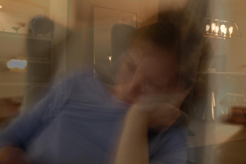 double exposure portrait of angela