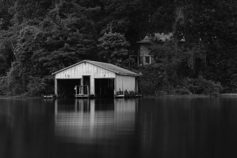 long exposure of the building across the lake