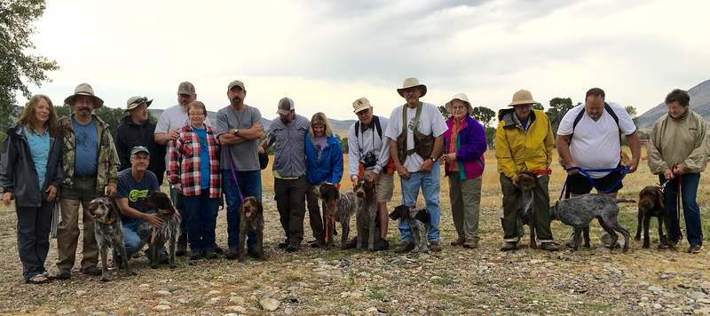 Participants at the RMC 2016 Exposure Day at the Ross Ranch near Willow Creek, MT.  L-R:  Diane Ross, Randy Ross & Acoma of Indian Creek, Glenn Ross & Dorka z Podripske strane, Mr. Dill, John Mc Dunn, Angie McDunn, Gary Pool & Angie Vallis Baptismi, Rusty Dill, Robin Strathy & Brillo of Wolf Fork Canyon, Roger Fuhrman & Cora z Ceceminskych vinic, Ned Enyeart & Brixie Vallis Baptismi, Janet Enyeart, Mike Vance & Calina Rokycanská kotlina, Malcom Jaap and Toby (AKC Griffon), Jennifer Jaap & Oliver z Malého Boubína.