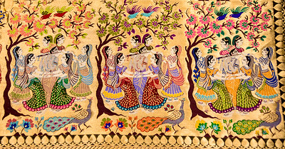 Hand-woven tapestry produced in Varanasi, India.