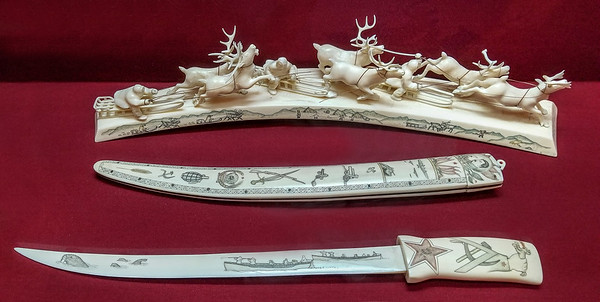 Ivory carving and scrimshaw at the Russian Museum of Ethnography, St. Petersburg, Russia.