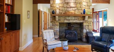 Massive, natural stone fireplace