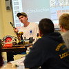 """KRISTOPHER RADDER - BRATTLEBORO REFORMER<br />  Hinsdale High School student Peter McCosker explains various tools that he used during his Extended Learning Opportunities' presentation """"Come Build With Me,"""" on Friday, May 18, 2018."""