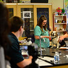 """KRISTOPHER RADDER - BRATTLEBORO REFORMER<br /> Hinsdale High School student Kelsi Clement examines a dog during her Extended Learning Opportunities' presentation """"Vet Clinic/Behind Closed Doors,"""" on Friday, May 18, 2018."""