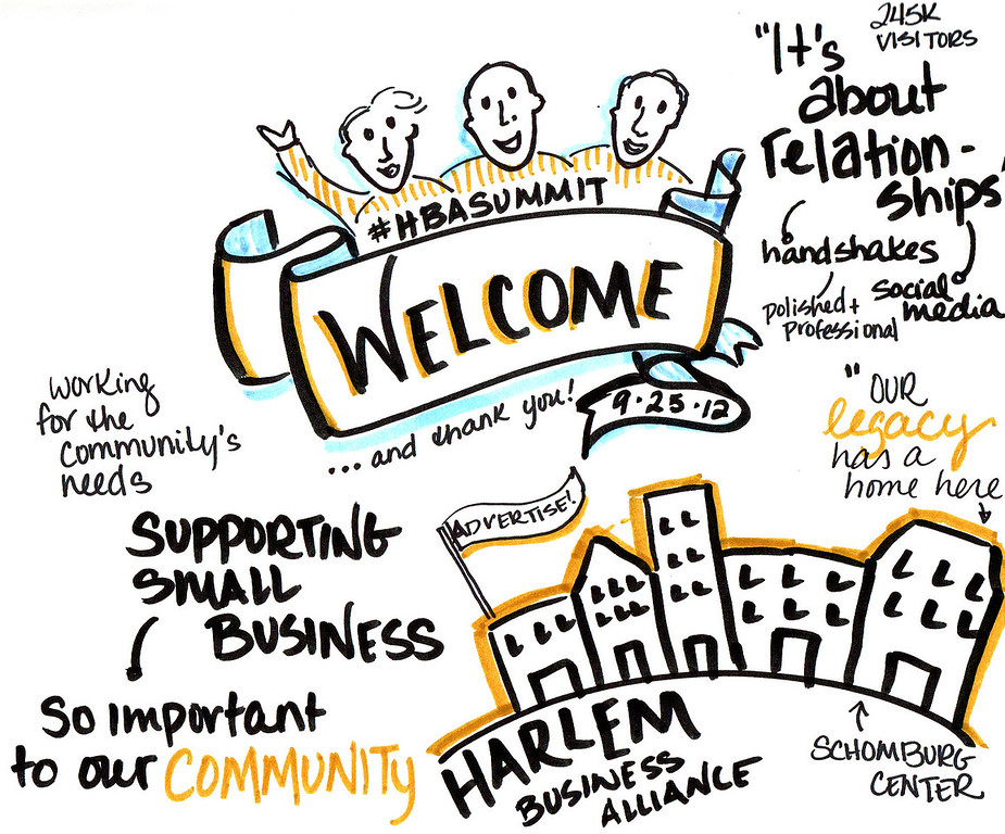 Sketch notes of welcome remarks at the 9th Annual Harlem Business Alliance Economic Summit.
