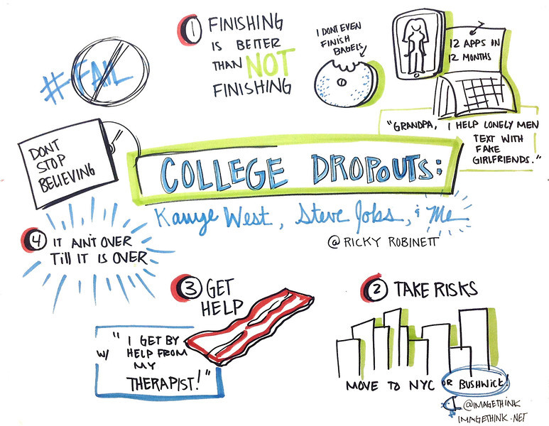 "Ricky Robinett: College Dropouts: Kanye West, Steve Jobs and Me<br /> <br /> These are sketch notes from the presentations of Ignite NYC 14, September 12, 2012 by the graphic recorders at ImageThink.<br /> <br /> The theme of the evening's 5-minute presentations was""Fails, Facepalms, and Spinouts: Stories from the Other Side of Failure.<br /> <br /> Ricky is a New York City based app developer focused on creating fun and entertaining apps<br /> (FakeGirlfriend.co, World of Fourcraft). His apps have been used by hundreds of thousands<br /> of users and covered in multiple media outlets."