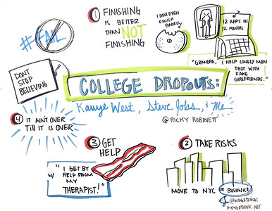 "Ricky Robinett: College Dropouts: Kanye West, Steve Jobs and Me  These are sketch notes from the presentations of Ignite NYC 14, September 12, 2012 by the graphic recorders at ImageThink.  The theme of the evening's 5-minute presentations was""Fails, Facepalms, and Spinouts: Stories from the Other Side of Failure.  Ricky is a New York City based app developer focused on creating fun and entertaining apps (FakeGirlfriend.co, World of Fourcraft). His apps have been used by hundreds of thousands of users and covered in multiple media outlets."