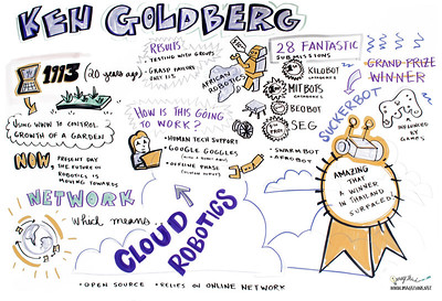 Cloud Robotics and the African Robotics Network: Design Challenge Winners - Ken Goldberg The Cloud will have a huge impact on the next generation of robots. It provides access to vast resources of data, software, computation,as well as access to human designers and researchers worldwide. Ken will announce the latest results.