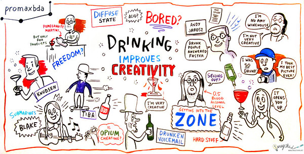 "Drinking Improves Creativity Recent studies indicate that drinking improves creativity and aids in problem solving. In this first-of-its-kind session at PromaxBDA, we dive into this cutting-edge research (and maybe some cocktails) to get at the deeper implications for optimal work habits for creatives in the meeting- and email-cluttered world they find themselves in. Moderator: Michael Ouweleen, SVP Group Creative Director, Cartoon Network Speakers: Blake Hazard, The Submarines Andrew Jarosz, Co-Author, ""Uncorking the Muse: Alcohol Intoxication Facilitates Creative Problem Solving"" Atiba Jefferson, Photographer, Musician, Skateboarder Matt Knudsen, Actor/Writer/Comedian"