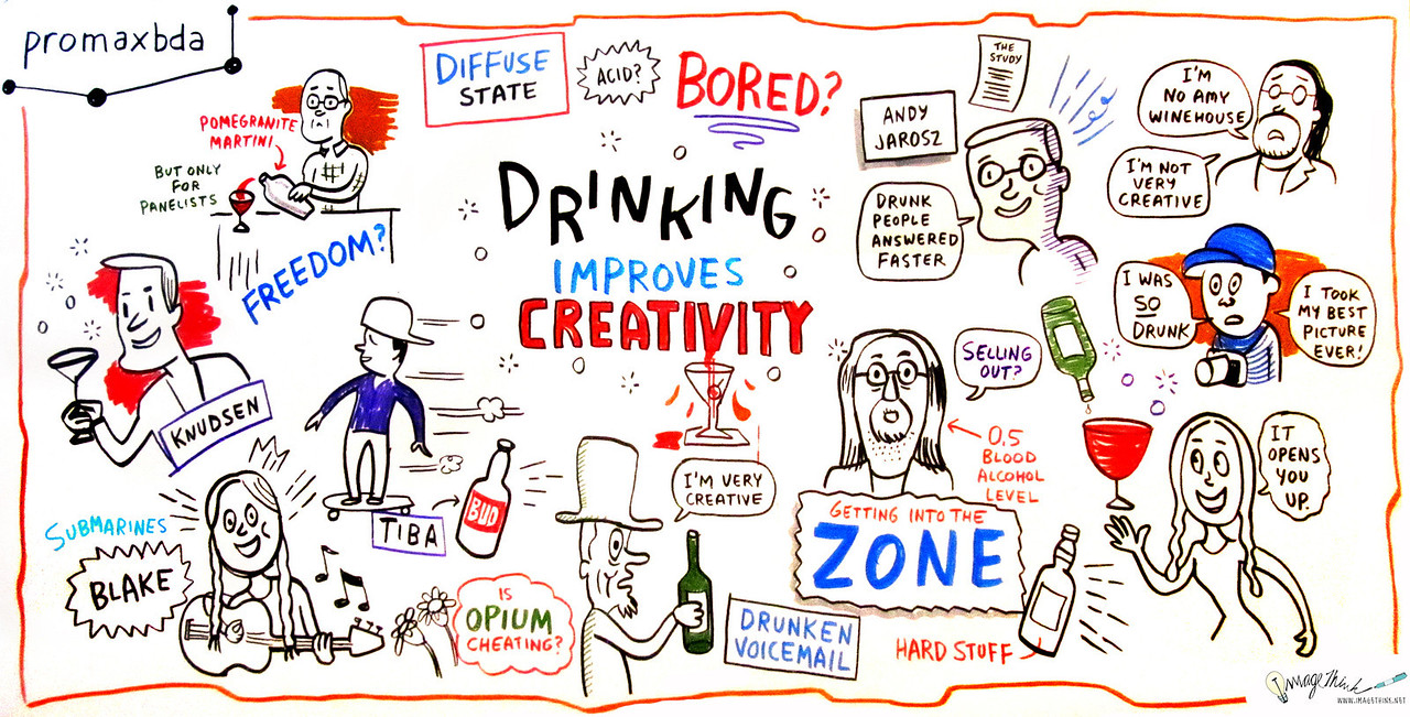 "Drinking Improves Creativity<br /> Recent studies indicate that drinking improves creativity and aids in problem solving. In this first-of-its-kind session at PromaxBDA, we dive into this cutting-edge research (and maybe some cocktails) to get at the deeper implications for optimal work habits for creatives in the meeting- and email-cluttered world they find themselves in.<br /> Moderator:<br /> Michael Ouweleen, SVP Group Creative Director, Cartoon Network<br /> Speakers:<br /> Blake Hazard, The Submarines<br /> Andrew Jarosz, Co-Author, ""Uncorking the Muse: Alcohol Intoxication Facilitates Creative Problem Solving""<br /> Atiba Jefferson, Photographer, Musician, Skateboarder<br /> Matt Knudsen, Actor/Writer/Comedian"