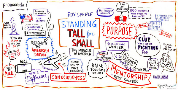 """Standing Tall for Small: The Miracle of America The big multi-nationals can handle global competition; but small, local business is the backbone of this country, inspiring and championing the true """"Miracle of America."""" An America made and designed by dreamers and doers still exists and the local multiplatform television and broadcast industry sits at the apex, creatively inspiring and strengthening communities. In this riveting keynote, Roy Spence explains how purpose-based leadership with an emphasis on small business can help you lead your company to new heights and redefine the paradigms of success. Speaker: Roy Spence, Chairman & Co-Founder, GSD&M; CEO & Co-Founder, The Purpose Institute"""