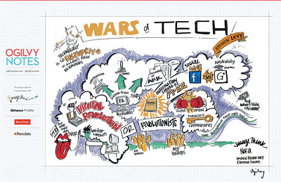 "SXSW 2012 Austin, ""The Wars of Tech,"" Steven Levy  It's easy to get caught up with the horse races of Facebook versus Google or Microsoft versus Apple or record labels versus the Internet. But in nearly 30 years of covering technology I find that the major conflicts are those of philosophy, politics and power. You could almost view the past few decades as a spectacular cycle of fantasy novels with the Hacker Spirit as the protagonist and amazing supporting characters including Steve Jobs, Richard Stallman, Bill Gates, Larry Page, Stephen Wolfram, Whitfield Diffie, Jeff Bezos, and Mark Zuckerberg (all of whom I've spent considerable time interviewing.) And as our lives are more intertwined with the giant digital shift, these conflicts are ever more vital. Here's an attempt to deconstruct a revolution--and point to what's ahead."
