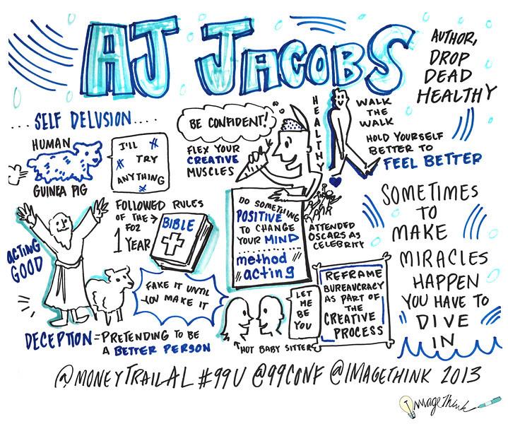 AJ Jacobs<br /> 99U Conference with Sketchnotes by ImageThink, 2013