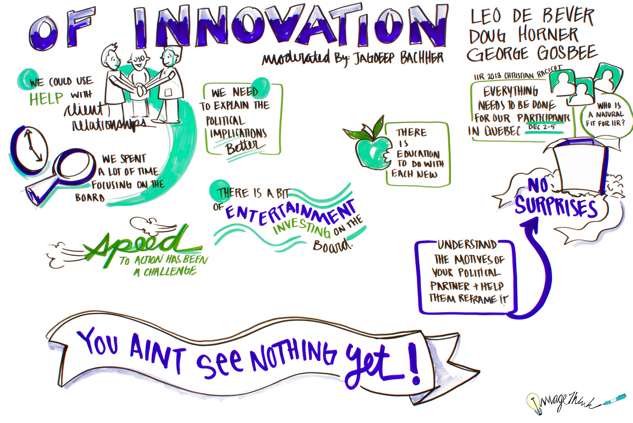 """Of Innovation""<br /> Leo de Bever<br /> Doug Horner<br /> George Gosbee<br /> <br /> IIR<br /> ImageThink 2013"