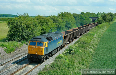 57006 heads north through Portway (Elford) on the: 6E94 09:48 Cardiff Tidal to Derby  11/06/09