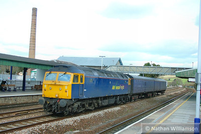 57006 hauling FGW barrier coaches 6330 & 6348 head west through Totnes working the: 5Z77 10:06 Gloucester to Laira  02/03/09