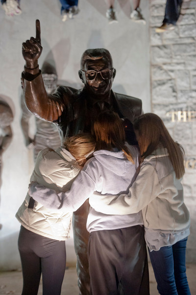 Penn State students hug the statue of football coach Joe Paterno outside Beaver Stadium minutes after the Penn State Board of Trustees announced Wednesday, Nov. 9, 2011, that Paterno would no longer be coach, effective immediately. The three students pictured from left to right are Ashly Hartman, 19, Torie Grice, 19, and Ashly's twin sister Casie Hartman, also 19. All three are sophomores from Lancaster, Pa. Photo by Andy Colwell for The Patriot-News