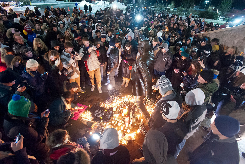 Hundreds of well-wishers gather at the statue of Joe Paterno on Penn State's campus Saturday, Jan. 21, 2012, as news spread that Paterno's health took a turn for the worse during his fight against lung cancer. Paterno's family announced Sunday, Jan. 22, that he had passed away that morning. Photo by Andy Colwell for The Patriot-News