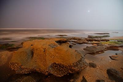 Pre-dawn at Marineland beach's Coquina formations