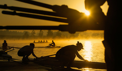 Rowing competitors from around the world gather at Sydney International Regatta Centre in Penrith to compete. Rowers on the practice lake during their early morning warm up session before competition commences for the day. 21st March 2013 Photo: Wolter Peeters The Sydney Morning Herald