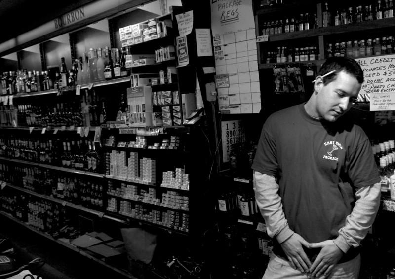 Chris at 'work' on Friday, November 7, 2008. (Jay Grabiec)