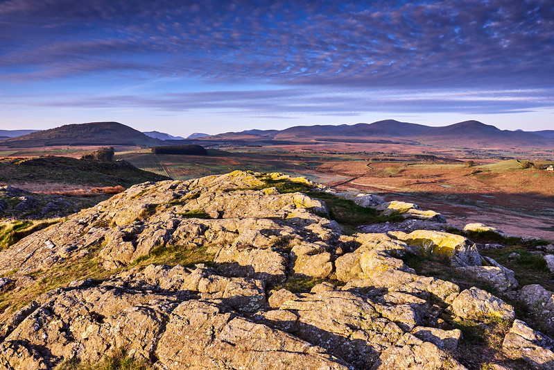 View to Helvelyn at sunrise from Eycott Hill