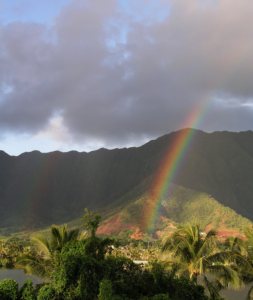 This gorgeous double rainbow welcomed us to Hawaii on our first morning in Oahu.<br /> November 20, 2004