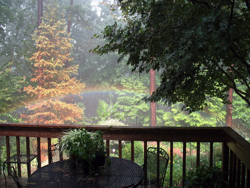 God sent us our own private rainbow just off our deck.<br /> August 15, 2008