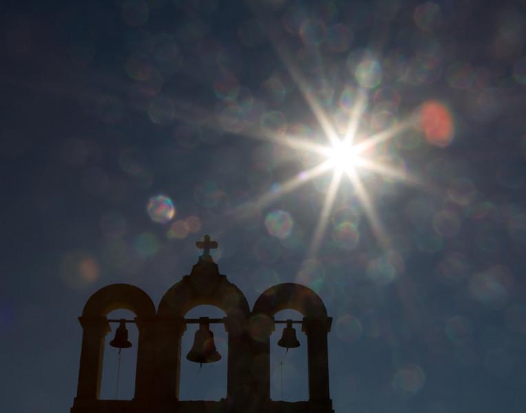 Sunburst and Church Bells. Malta.