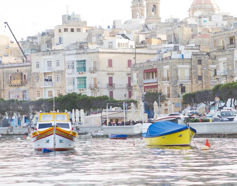 Anchored Luzzus. Malta.