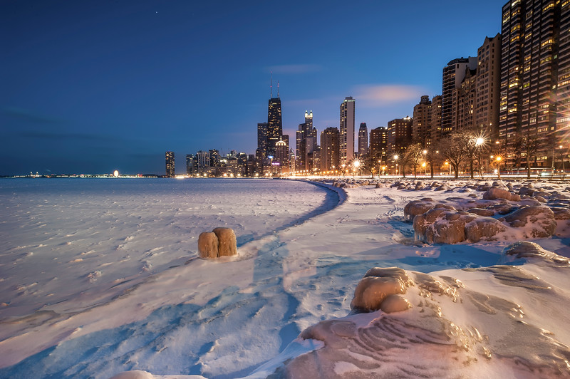 Polar Vortex Hits Chicago Shoreline - 2014 (Color)