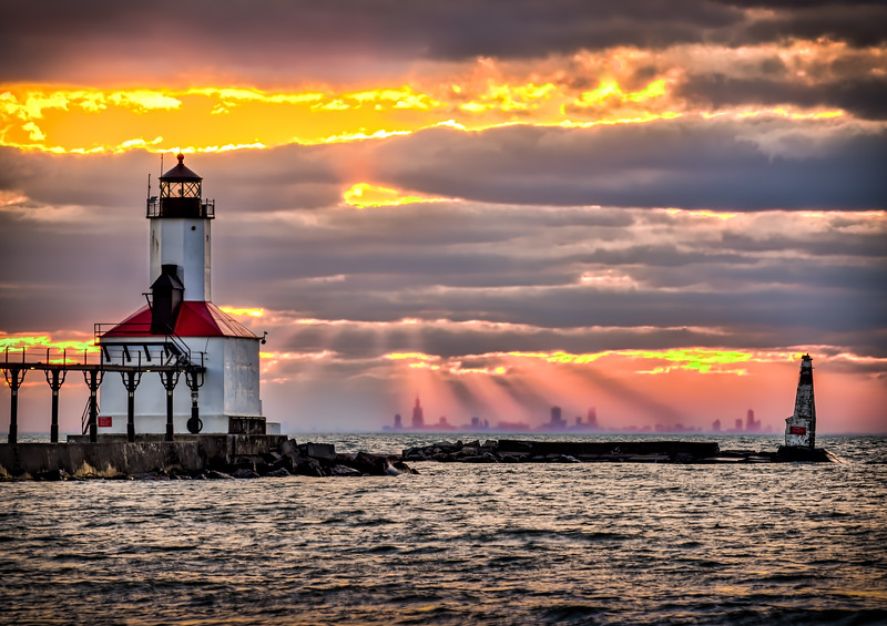 Michigan City Sunset with Chicago Skyline on Horizon