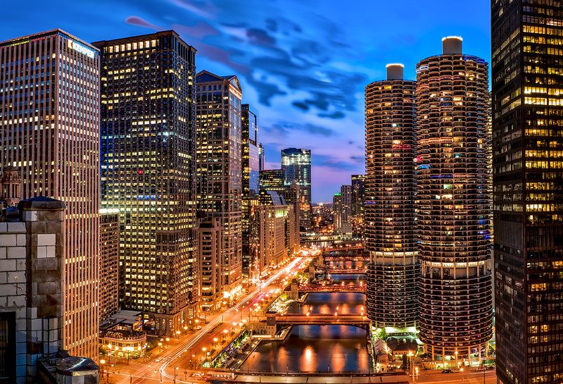 The Chicago Bridges at Blue Hour