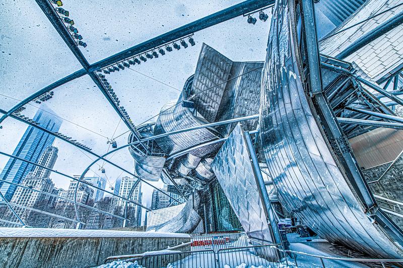 Pritzger Pavillion in Snow Storm - John O'Neill Photography