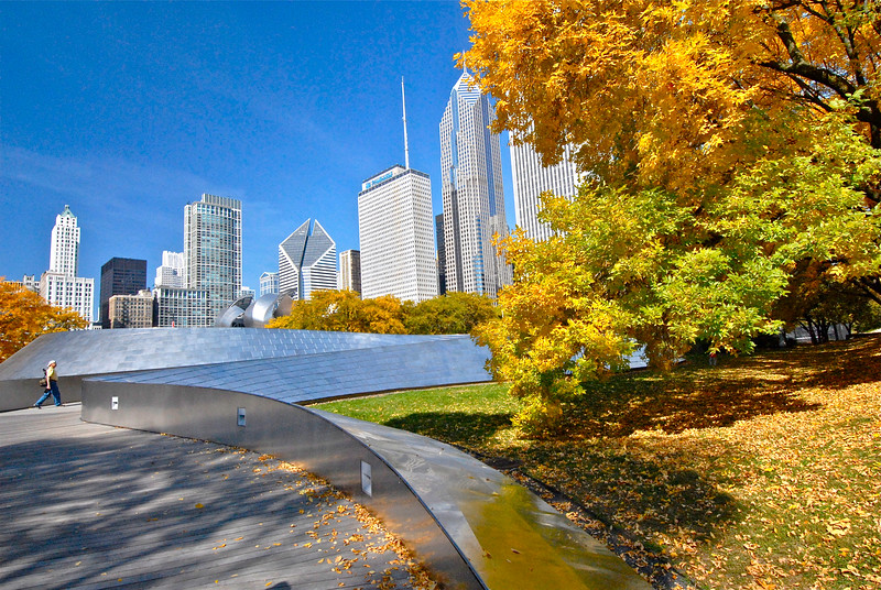 Autumn in Millennium Park - Take 2 - Foot Bridge
