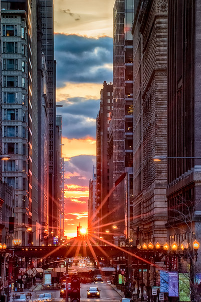 Chicago Henge Suset Over Church Steeple