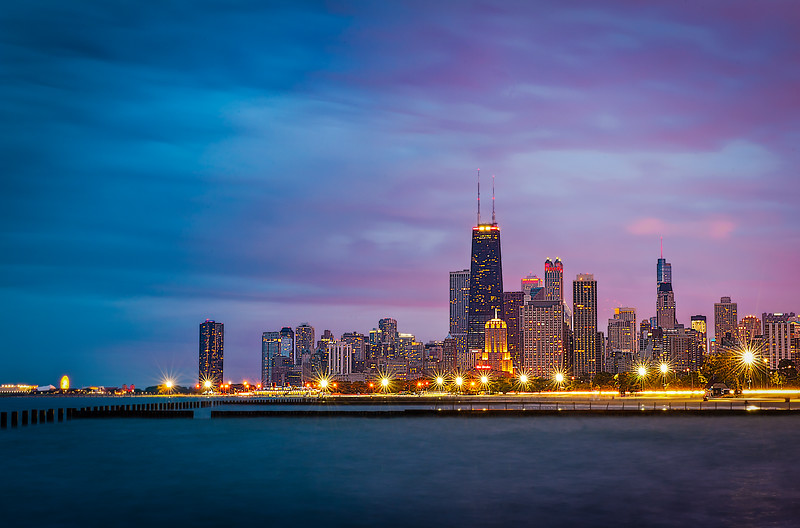 Chicago Skyline Sparkling After Sunset - From North Avenue Beach