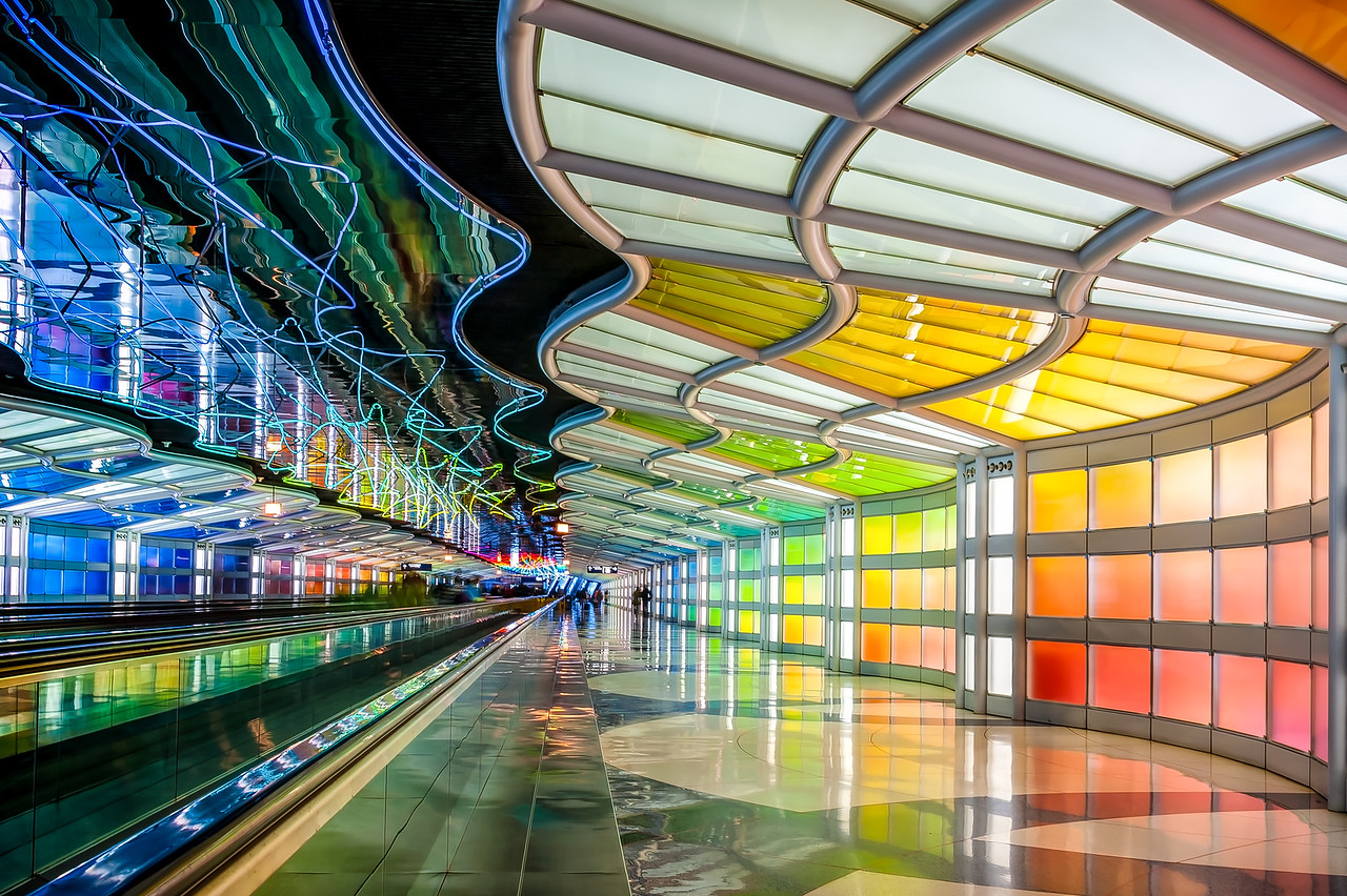 Rainbow Walkway at O'Hare - Take 1