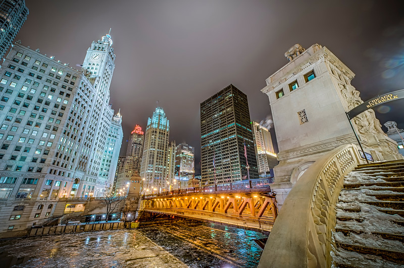 North Michigan Ave. Skyline form the Riverwalk in Winter