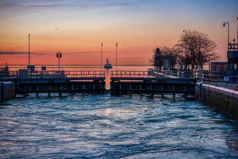 The Locks Open Up & The Lake Beckons - Pre-Dawn Chicago