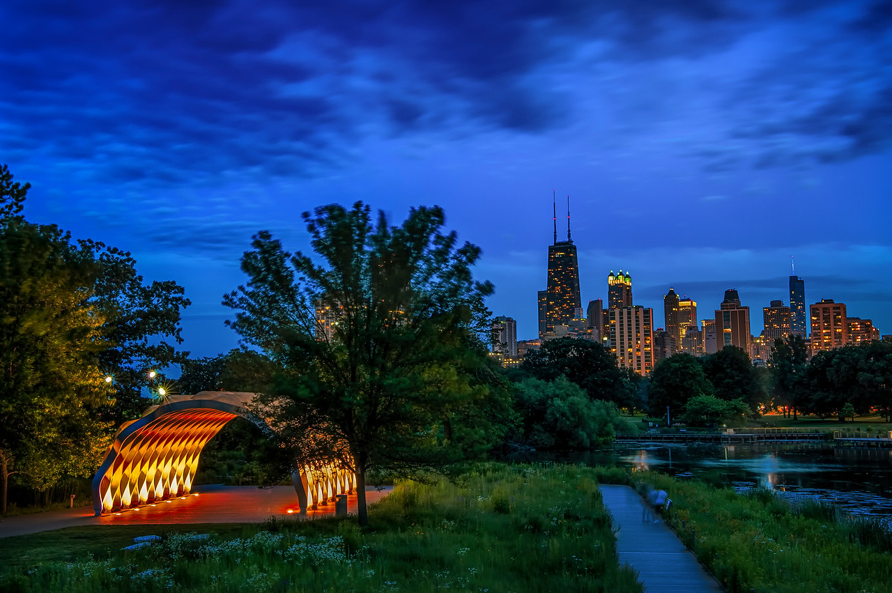 Gang Pavilion and Skyline from Lincoln Park
