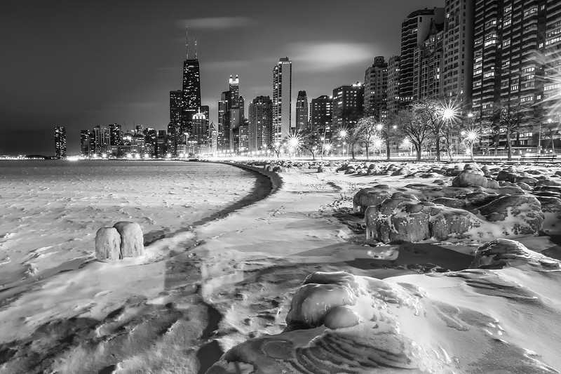 Polar Vortex Hits Chicago Shoreline - 2014 (B&W)