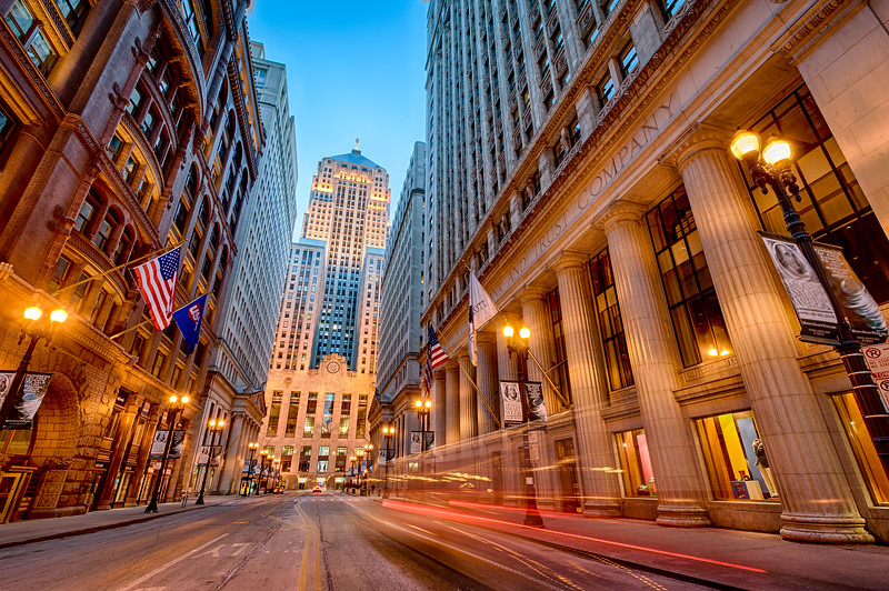LaSalle Street Ghost Town at Dusk