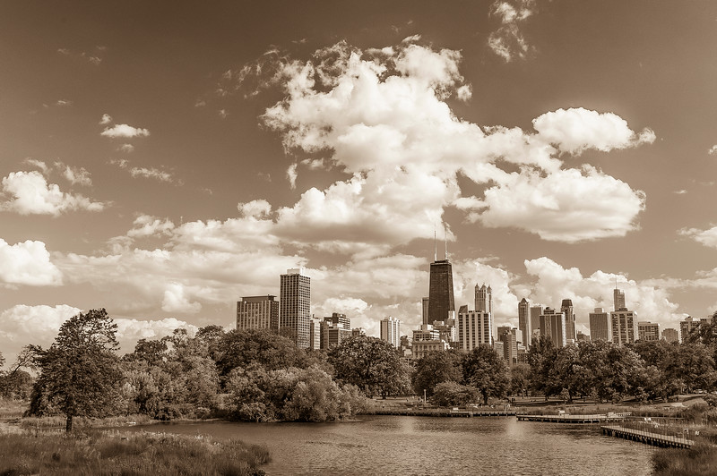 Sunny Day in Lincoln Park - Sepia