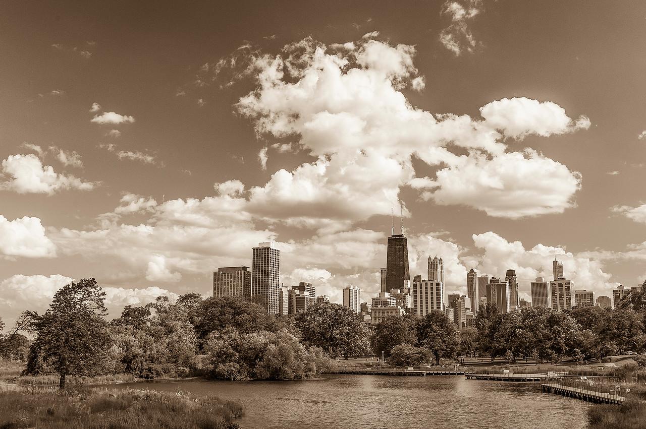 Sunny Day in Lincoln Park - Sepia